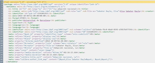 """Figura 6. Secció <metadata> en el document """"Package"""" generat pel Calibre, amb les mesures aplicades mitjançant l'editor de metadades del Calibre per contrarestar els efectes d'algunes alteracions aplicades pel connector """"Read EPUB metadata"""""""