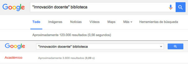 """Resultados en Google y Google Académico tras la búsqueda de """"'Innovación docente' biblioteca"""""""