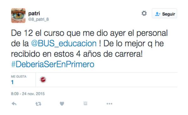 Tuit de un alumno durante el curso de @BUS_educacion