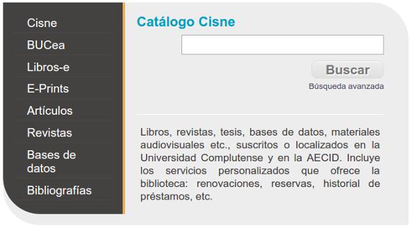Figura 1. Quadre de cerca de la pàgina principal de la Biblioteca de la Universidad Complutense de Madrid
