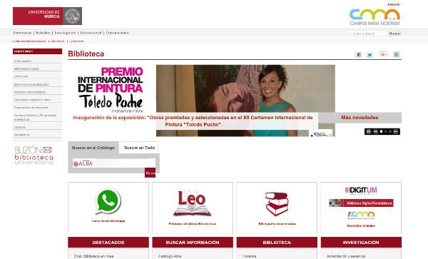 Figura 2. Página principal de la Biblioteca de la Universidad de Murcia