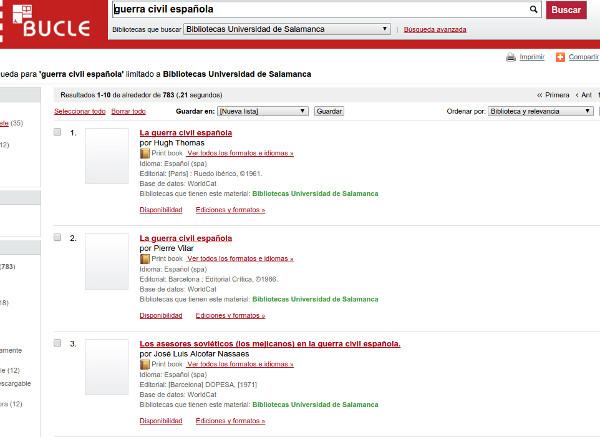Figura 4. Pàgina de resultats del catàleg de la Universidad de Salamanca