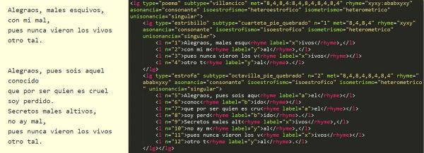 Fragment d'un dels poemes disponibles al ReMetCA. A la dreta es pot observar el text codificat amb l'estàndard TEI