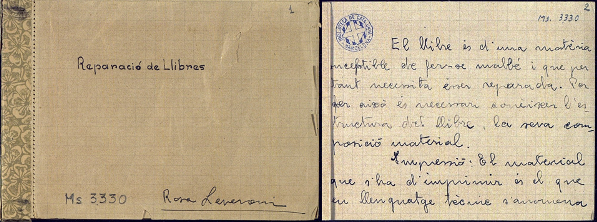 Figura 16. Notes de Rosa Leveroni de l'assignatura d'Eduard Toda (1933, Biblioteca de Catalunya, ms. 3330)