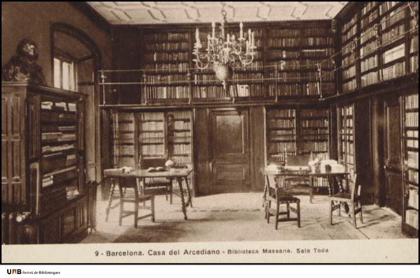 """Figura 5. Antiga sala Toda a l'Arxiu Històric de la Ciutat de Barcelona (""""Col·lecció de postals, Fons Joan Gómez Escofet"""", Universitat Autònoma de Barcelona, Servei de Biblioteques)"""