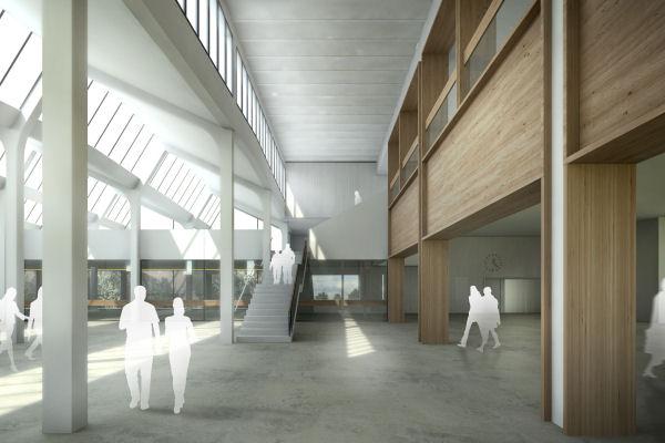 Biblioteca Montserrat Abelló i Soler: renderització de la planta baixa, àrea d'accés
