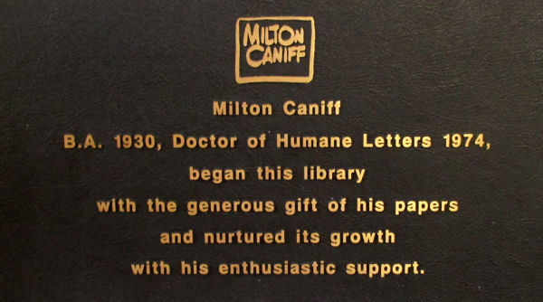 Figura 2. Placa en honor de Milton Caniff