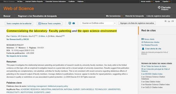 Figura 3. Artículos sobre ciencia abierta con mayor impacto bibliométrico a nivel mundial según WoS