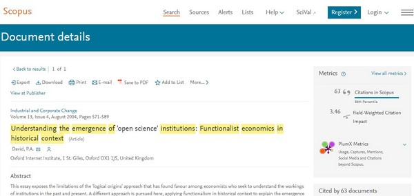 Figura 4. Artículos sobre ciencia abierta con mayor impacto bibliométrico a nivel mundial según Scopus