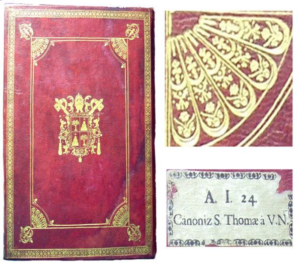 Figura 2. Enquadernació italiana amb quarts de ventalls en els cantons. Escut del papa Alexandre VII (1655–1667) (sign. 38-10). Detall d'un quart de ventall. Teixell amb la signatura original