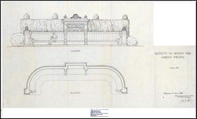 Figura 10. Projecte de F. de Azúa dels bancs biblioteca al passeig de Sant Joan. Font: Arxiu Municipal Contemporani de Barcelona. N 790