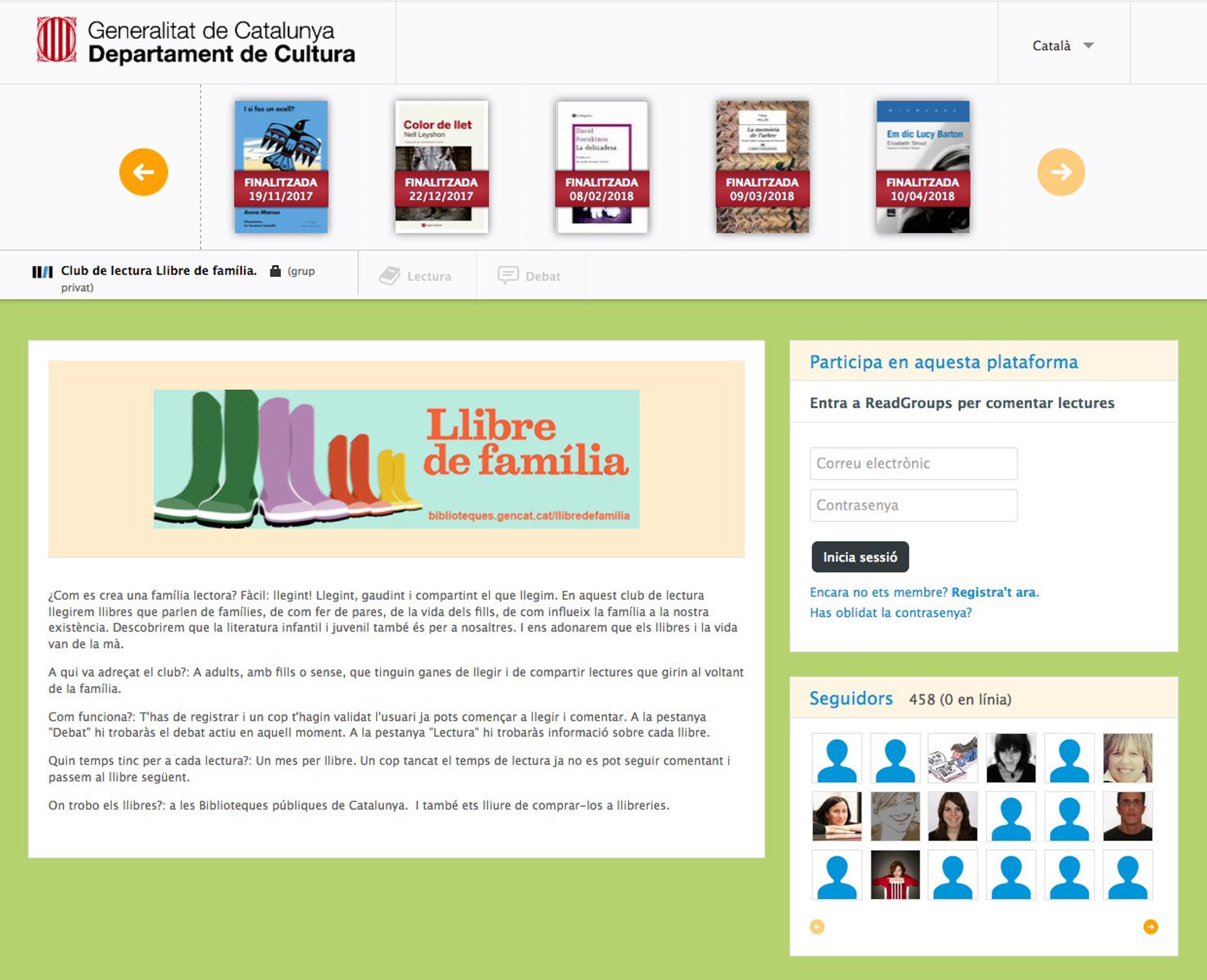 """Imatge 1. Captura de pantalla de la plataforma del club de lectura """"Llibre de família"""""""