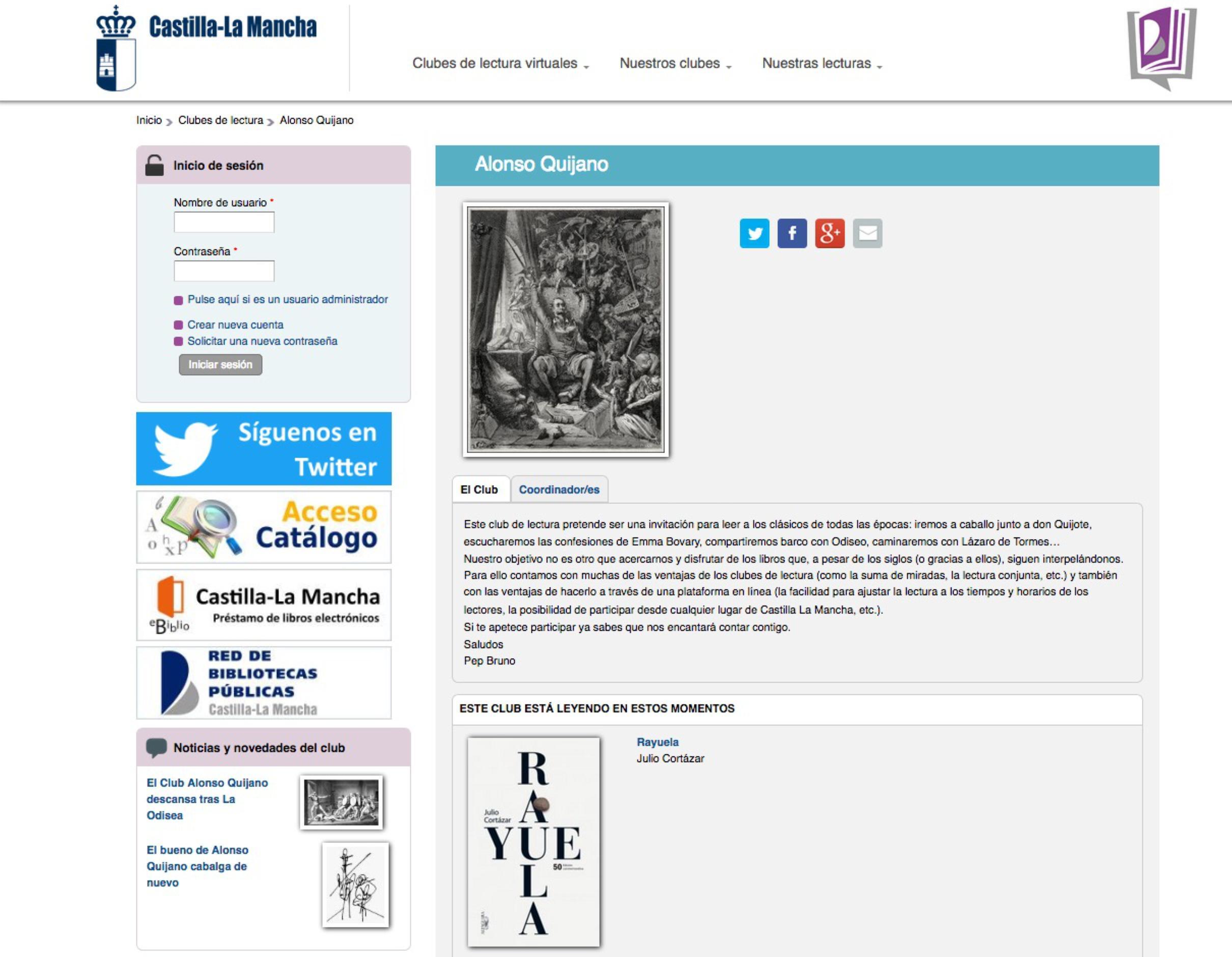 """Imatge 2. Captura de pantalla de la plataforma del club de lectura """"Alonso Quijano"""""""