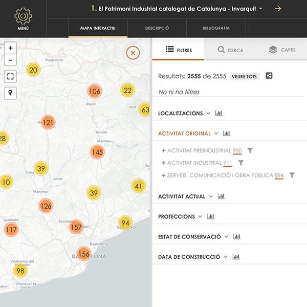 Figura 3. Distribución geográfica de los elementos patrimoniales incluidos en el catálogo digital (caso Invarquit) Fuente: PatrimoniIndustrial.cat
