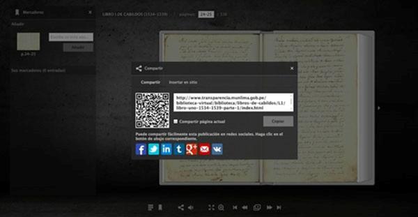 Figura 2. Uso de códigos QR en la plataforma de la colección digital de la Biblioteca y Archivo Histórico de Lima. Fuente: Municipalidad de Lima