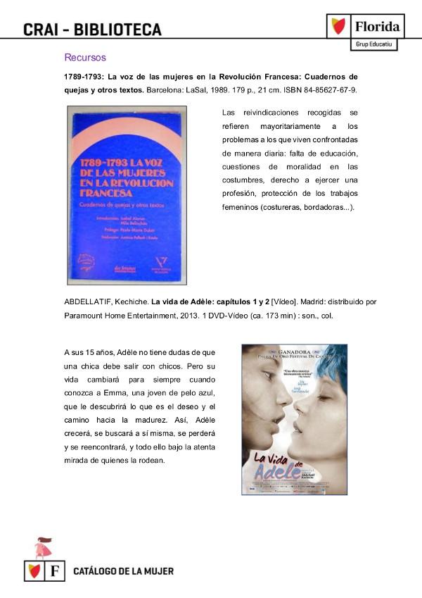 Imatge2. Referències al Catálogo de la mujer (Moraga; et al, 2019)