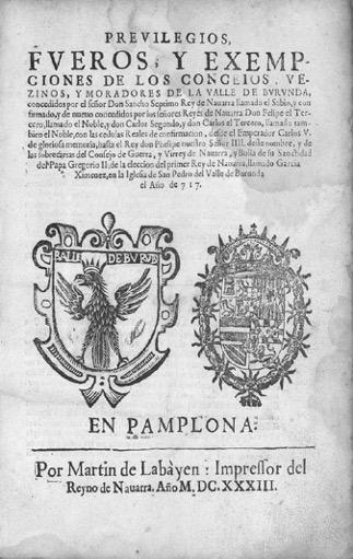Figura 1. Portada. Previlegios, fueros y exempciones de los conceios… (1633). Font: Archivo General de Navarra: FBA/309