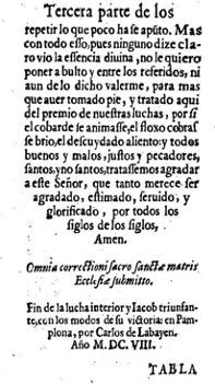 Figura 10. Colofó. Lucha interior (1608). Font: Biblioteca de la Universidad Complutense de Madrid, FLL 16627