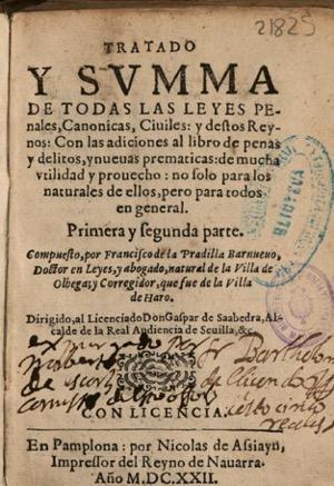 Figura 11. Portada. Tratado y summa de todas las leyes… (1622). Font: Biblioteca de la Universidad Complutense de Madrid, FLL 21825