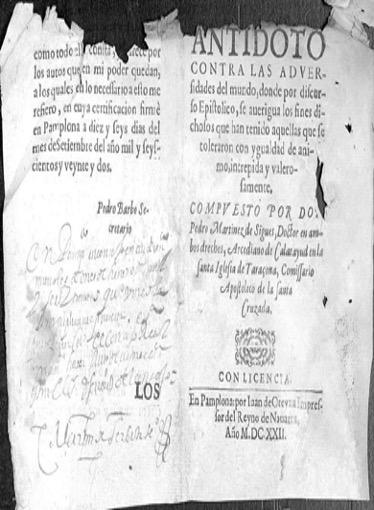 Figura 2. Portada. Antidoto contra las adversidades del mundo (1622). Font: Archivo General de Navarra, Procesos, n.º 163782