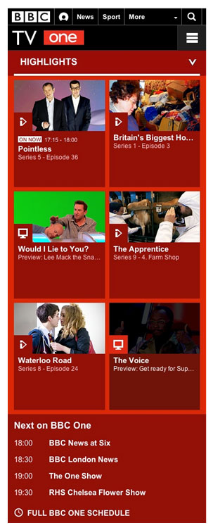 Figura 6: Vista de la web de  la <em>BBC One</em> desde un iPhone4.
