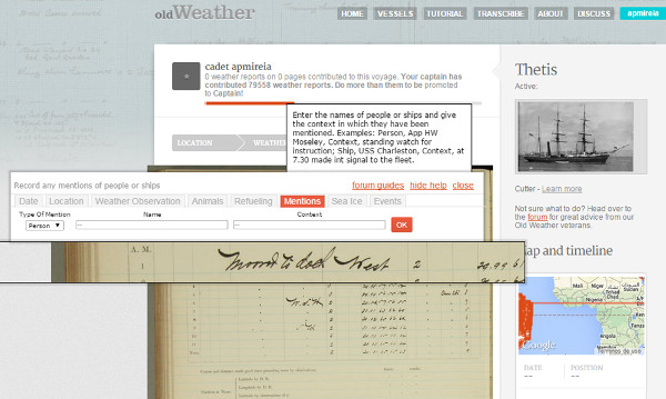 Mostra de la transcripció guiada a l'Old Weather