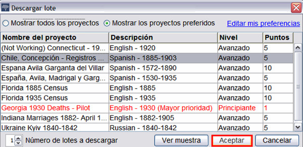 Panell de selecció de lots al FamilySearch Indexing