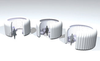 "Figure 1. Concept for ""street umbrellas"" and inflatable ""igloos"" for the Saltire Centre at Glasgow Caledonian University"