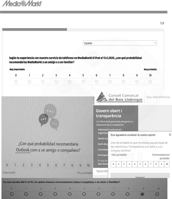 Figura 4. Exemples d'enquestes amb NPS d'Outlook, el Consell Comarcal del Baix Llobregat, Gafas Completas (2019) i Media Markt (2020)